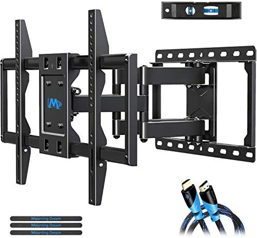 Mounting Dream TV Mount Bracket for 42-70 Inch Flat Screen TVs, Full Motion TV Wall Mounts with Swivel Articulating Dual Arms , Heavy Duty Design – Max VESA 600x400mm , 100 LBS Loading , MD2296