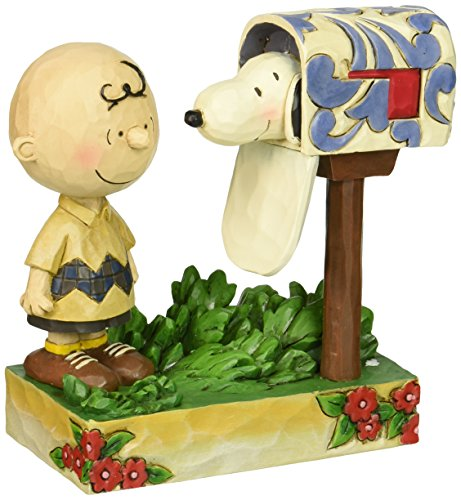 "Jim Shore for Enesco Peanuts Charlie Brown & Snoopy Mailbox Figurine, 5"""