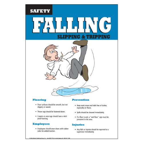 DayMark IT112463 Laminated Workplace Safety and Educational Poster, Slip, Trips and Falls, 11