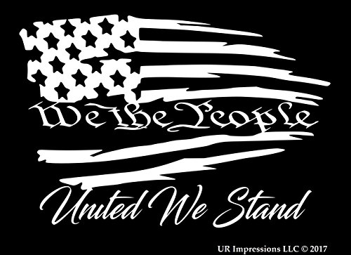 (UR Impressions We The People United We Stand - Tattered American Flag Decal Vinyl Sticker Graphics Car Truck SUV Van Wall Window Laptop|White|7.5 X 5.1 Inch|URI490)