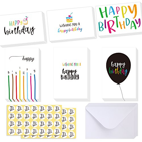 Ohuhu Happy Birthday Gift Cards, 48 Assorted Folded Kids Birthday Greeting Blank Note Cards W/ 48 White Envelopes and 48 Stickers, 4 x 6 inch, Candle, Cake Balloon Designs Card Stocks for Children