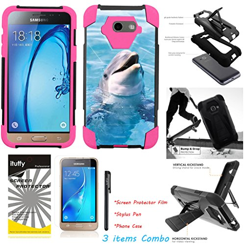 Dolphin Case Pink (For Samsung Galaxy J7 Prime/ J7 Perx/ J7 Sky Pro/ J7 2017/ J7 V /ITUFFY 3items: LCD Film+Stylus Pen+[Dual Layer] [Impact Resistance] [KickStand] Hybrid Armor Case Dolphin - Pink)