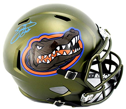 Emmitt Smith Autographed/Signed Florida Gators Riddell Swamp Green Full Size NCAA Helmet