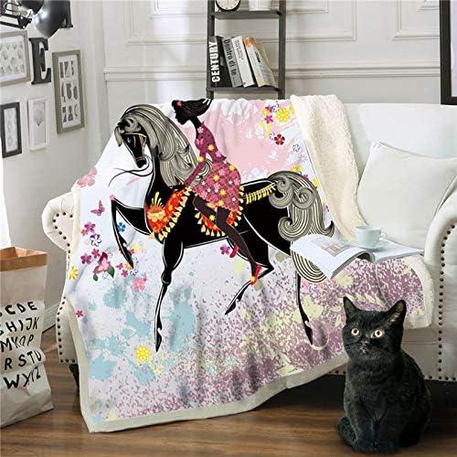 Mantas,Cartoon chica a caballo Manta de impresión 3D Chicas Chicos colchas suaves camas cama de felpa Sherpa MANTA Manta regalos para niños adultos se desplazan mullidas edredón cálido,150×200cm