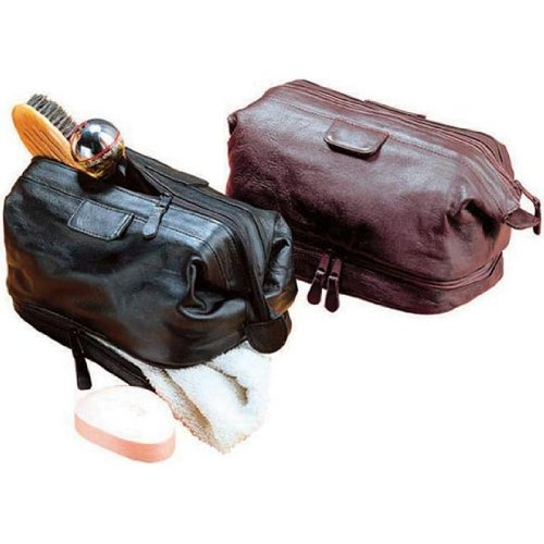 (Cowhide Leather Travel Kit Color: Black)