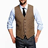 auguswu Brown Six Button Mens Slim Trim Fit Tuxedos Suits Vest