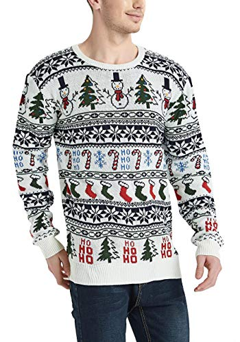 Daisyboutique Men's Christmas Rudolph Reindeer Holiday Sweater Cardigan Cute Ugly Pullover (X Large, Snowman-Tree-More)]()