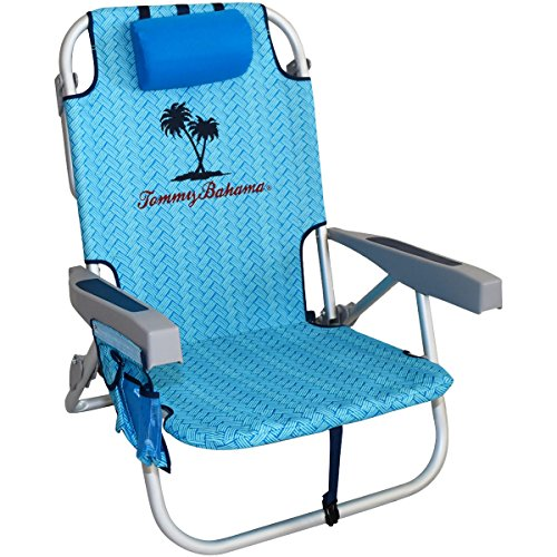 Tommy Bahama Backpack Cooler Chair with Storage Pouch and Towel Bar, Blue