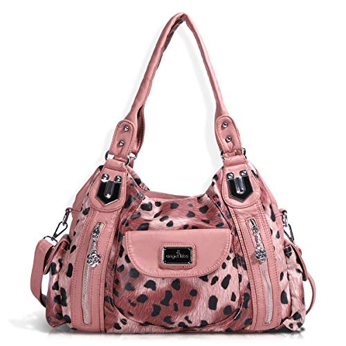 Handbag Hobo Women Handbag Roomy Multiple Pockets Street ladies' Shoulder Bag Fashion PU Tote Satchel Bag for Women (AK812-2Z Pink Leopard), Large