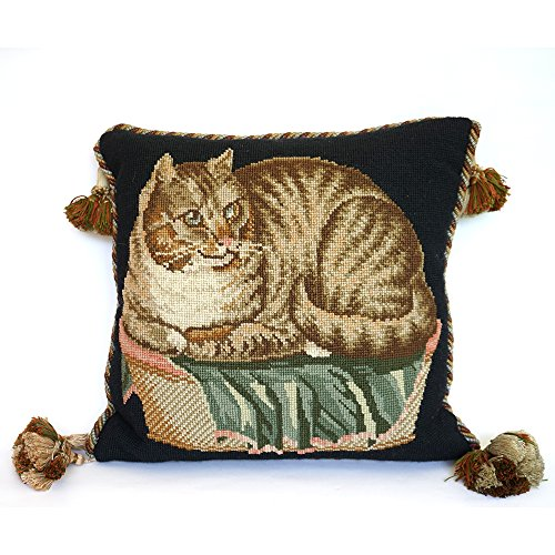 Animals Wool Tapestry - Contented Cat Needlepoint Tapestry Kit from Elizabeth Bradley premium English needlework project on black background with 100% wool yarns. Victorian Animals Collection.