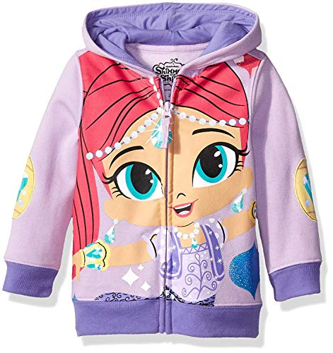 Shimmer and Shine Little Girls' Toddler Character Hoodie, Lilac/Soft Violet, 3T (Shimmer Sweater)