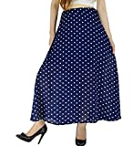 YSJ Women's Polka Dot Chiffon Long Skirt Chic Summer A Line Swing Skirts (M, Navy Blue)