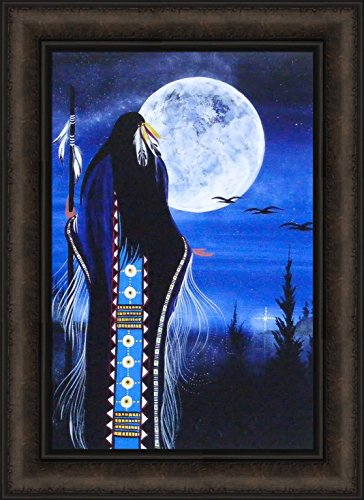 Evening Star Woman by Betty Albert 16x22 Cree Indian Native American Moon Night Sky Framed Art Print Picture