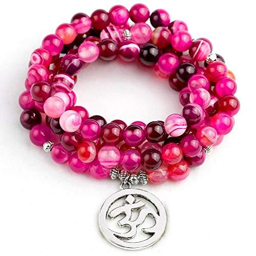 (Natural Rose Stripe Onyx Tibetan Silver Plated | Buddha Lotus Life Tree Bracelet | Women Men Jewelry Stone Prayer Bead Bracelet (OM Charm))