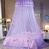 INFILM Girl ËŠs Bed Canopy Lace Round Dome Fairy Netting Curtain, Princess Play Tent Beding Hanging Mosquito Net House Decoration for Kids Playing Reading - Purple