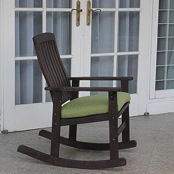 Amazon Com Delahey Wood Porch Rocking Chair Dark Brown