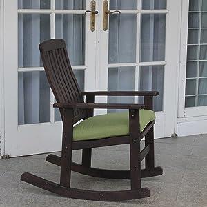 Delahey Wood Porch Rocking Chair, Dark Brown