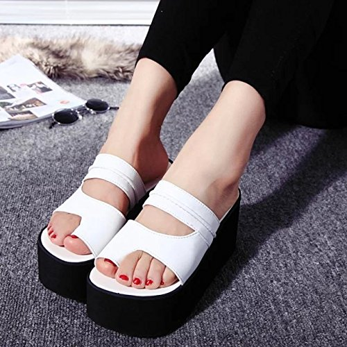 KHSKX Sandals Slippers High Thick Dew Heels Home With New Women Cool seven Fashionable Shoes And Shoes Bottom Toe Heels Sloping Antiskid Thirty PFPXxwqHr