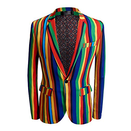 CARFFIV Mens Fashion Colorated Floral Print Suit Jacket Casual Blazer (Colored Stripes, XS/36R)