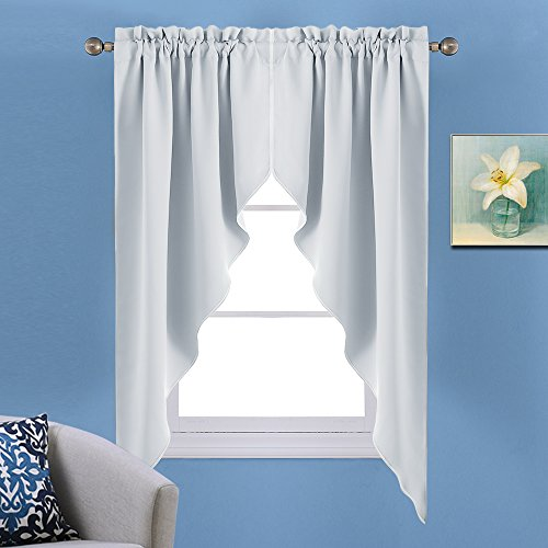 Window Treatments Swags (NICETOWN Room Darkening Window Treatment Kitchen Tier Curtains- Tailored Scalloped Valance/Swags for Bedroom (One Set, W36 X L63 Inches Each Panel,Platinum-Greyish White))