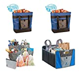 Insulated Cooler Tote, Reusable Grocery Bags, and Car Trunk Organizer for Loading, Organizing and Carrying Home the Groceries. Complete Eco-Friendly Shopping Solution. (4 Units)