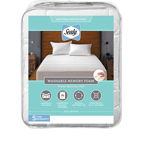- Sealy Washable Memory Foam Fitted Mattress Pad, Full