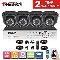 TMEZON 4 Channel AHD Home Security Cameras System 1080P DVR Kit 4x HD 1080P 2.0MP Night Vision Indoor/Outdoor CCTV Surveillance Quick Smartphone View Setup Free App