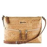 Corkor Cork Purse Cross-Body Bag for Women Front Pockets Vegan Non Leather Natural Crossbody