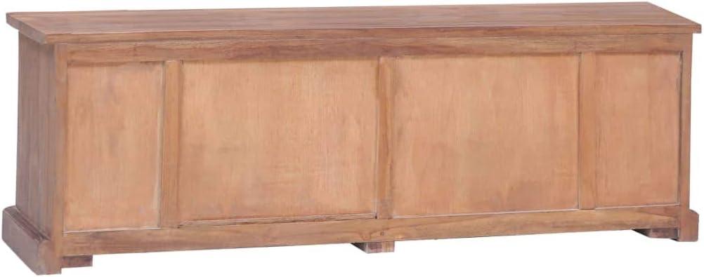 vidaXL Teak Massiv TV Schrank mit 6 Schubladen 1 Fach Lowboard TV M/öbel Board Fernsehtisch Fernsehschrank Sideboard HiFi-Schrank 120x30x40cm