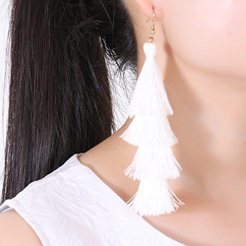4fdfa6017 ELEARD Tassel Earrings Tiered Thread Tassel Dangle Earrings Statement  Layered Tassel Drop Earrings White