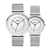 a.b.art His and Her Watches Sapphire Crystal Analog Quartz Couple Watches (Silver)