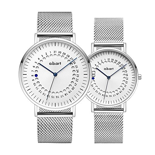 a.b.art His and Her Watches Sapphire Crystal Analog Quartz Couple Watches (Silver) by a.b.art