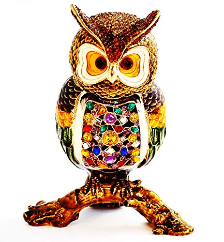 - Ciel Collectables Owl On Branch Trinket Box. Hand Crafted with Colorful Enamel & Swarovski Crystals