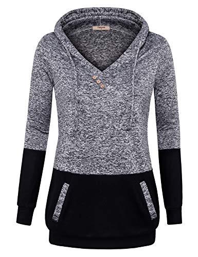 hirt for Women, Womens Ladies Banded Hem Tunis Sweatshirts Office Casual Pullover Kangaroo Pockets Hoodie Sweaters Long Sweatshirt Jacket (Medium, Multi-Black) ()