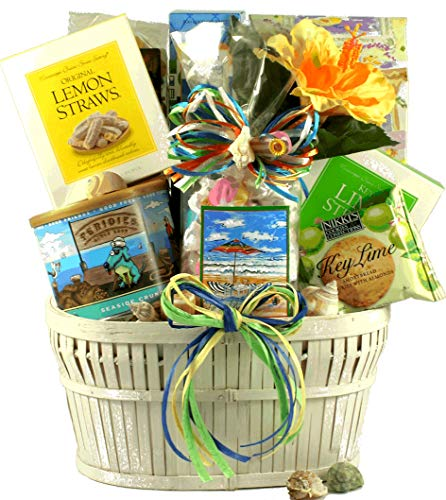 Seaside Snacks - Summer Themed Gift Basket Loaded with Refreshing Snacks - Perfect for Summer Vacation or a Day at the Beach -