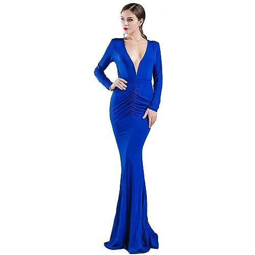 Missord Sexy Deep V Long Sleeve Halter Backless Maxi Dress