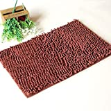 CarPet Floor Mat Door Mat Door Kitchen Bathroom Bathroom Mat Thick Absorbent Non-Slip (Color : Brown, Size : 6040cm)