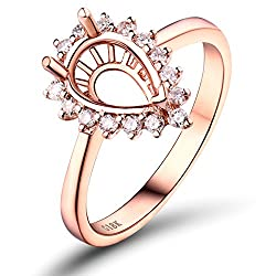 Rose Gold With Diamond Semi Mount Band