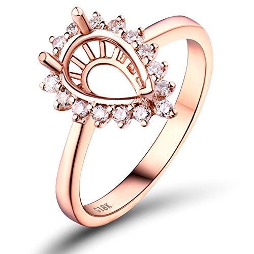 (Lanmi 6X9mm Pear Solid 14k Rose Gold Engagement Semi Mount Diamond Ring)