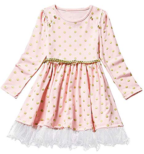 NNJXD Girl Polka Dotted Pleated Multilayer Ruffled Party Dress (1-2 Years, Pink) ()