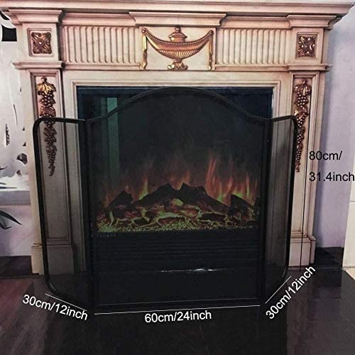 ブラックアンティークヴィンテージ暖炉火ガード3-パネルサラウンドスパークメッシュ保育園画面、ホームのための炎Guard保護メタル折りたたみデザインスパーク
