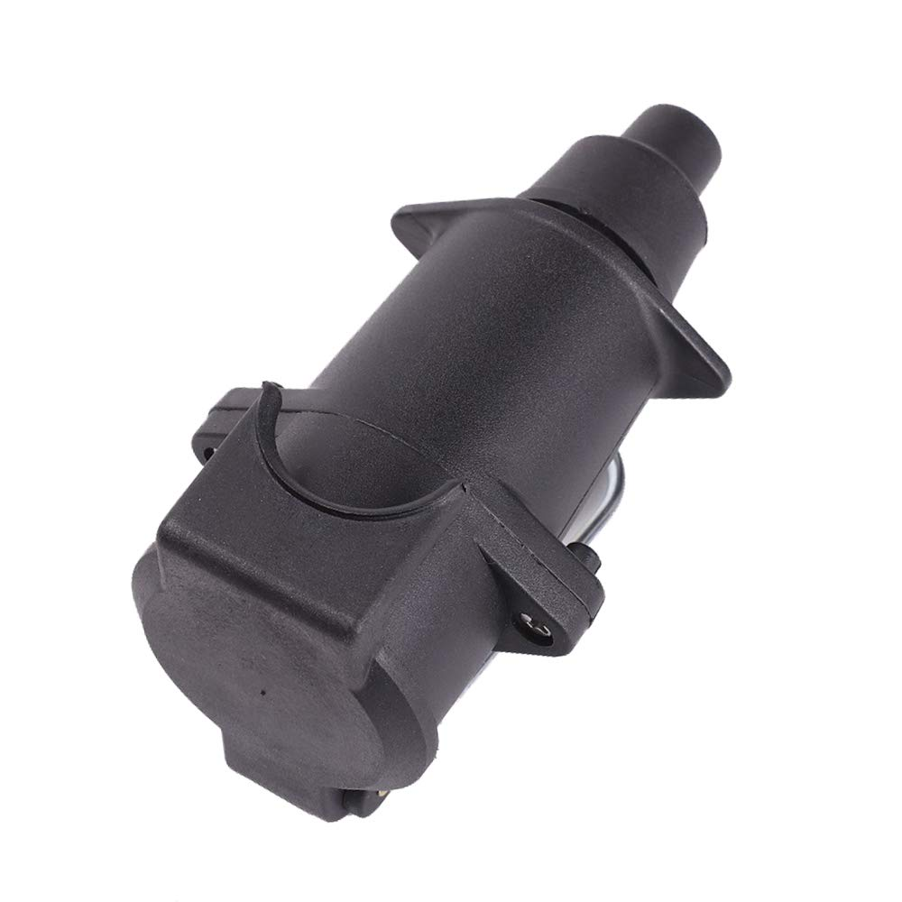 boot Rubber AOHEWEI 7 Pin Wiring Trailer Socket 7Pin Towing Towbar Plastic 12V Connector Car Female for Electrical Caravan Truck Van or other Commercial Vehicles with Hook and Cover