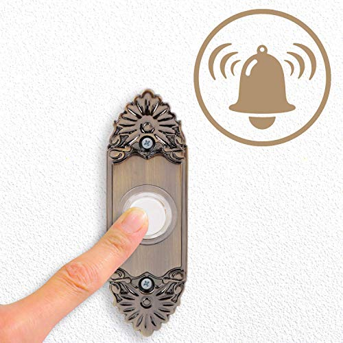 JUSTDOLIFE Door Push Button, Metal Wired Door Chime Push Button with Lighted Center Doorbell Wired Button for Home Courtyard Door Gate Doorbell Decor