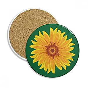 Yellow Sunflower Plant Flower Ceramic Coaster Cup Mug Holder Absorbent Stone for Drinks 2pcs Gift