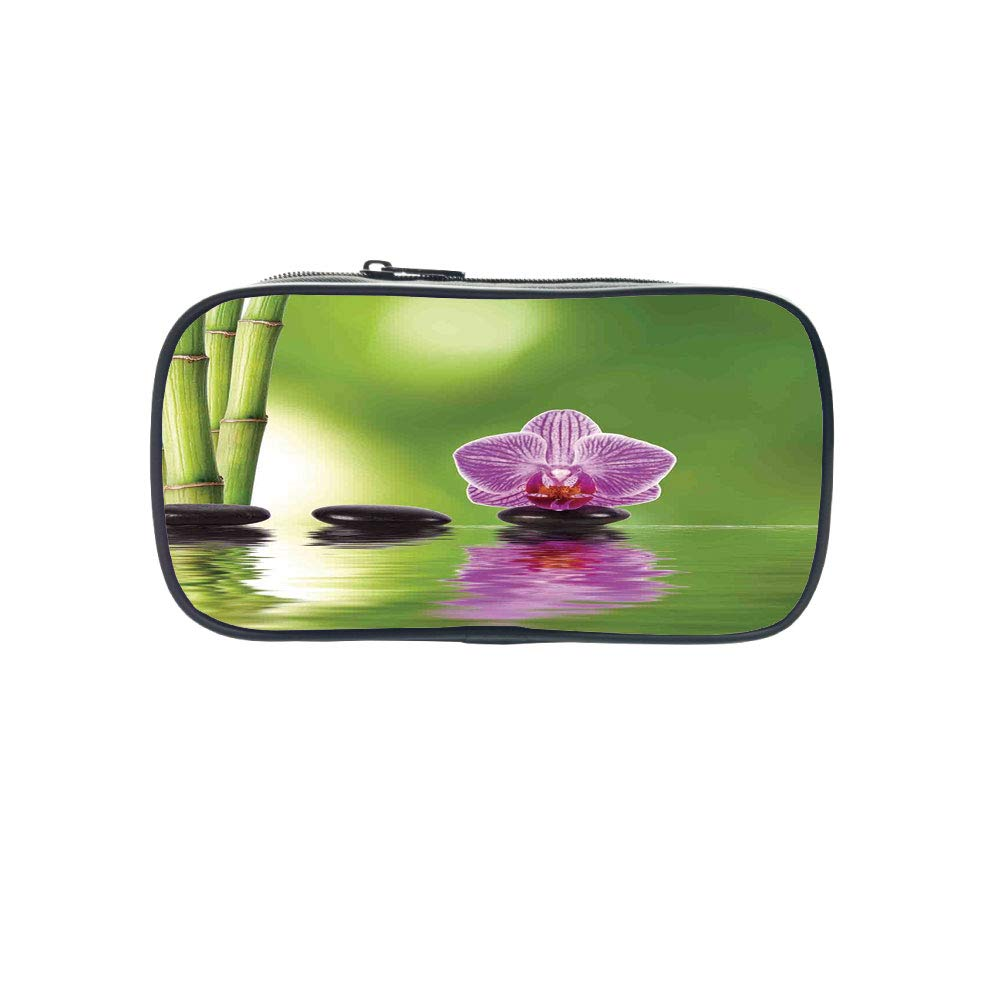 Polychromatic OptionalPen Bag,Spa Decor,Spa Floral Decorating Summertime Holidays Exotic Positiveness Lilac Bouquet,for Kids,Diversified Design