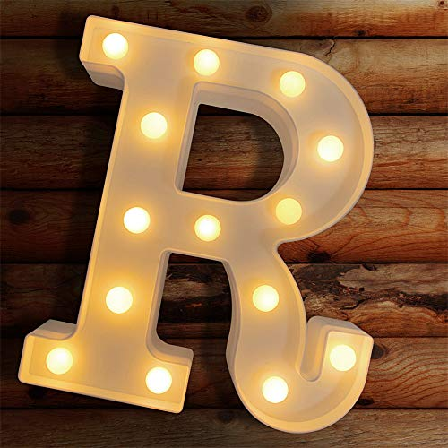 Light Up Letters LED Letter Lights Marquee Sign Alphabet Lights Indoor Decoration for Night Light, Wedding, Birthday Party, Christmas, Home Bar. Create Cafe Ambience in Your Room - R