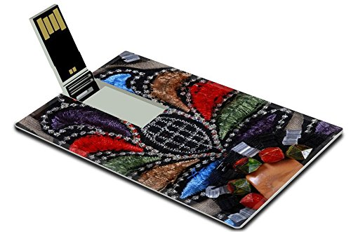 [Luxlady 32GB USB Flash Drive 2.0 Memory Stick Credit Card Size macro texture fragment costume decorated with feathers embroidery beads IMAGE 36350335] (Costume Design Software Free Mac)