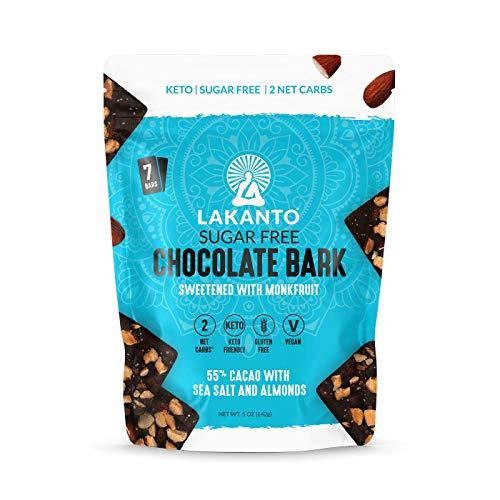 Lakanto Sugar-Free Chocolate Bark, 55% Dark Cacao with Almonds and Sea Salt, Keto (5 Ounce)