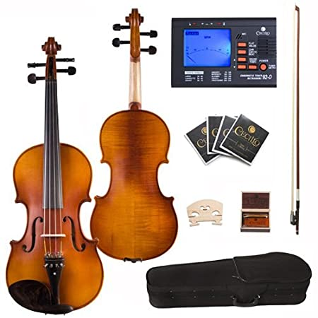 Cecilio CVA-500 Ebony Fitted Flamed Solid Wood Viola with Tuner, Case, Bow, Rosin, Bridge and Strings, Size 16.5-Inch 16.5CVA-500+92D