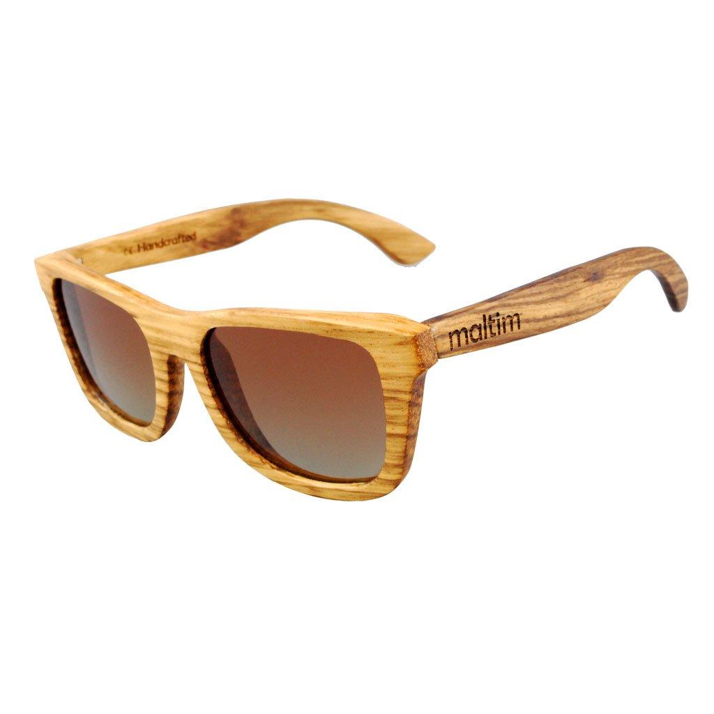 Sonnenbrille aus Zebrano Holz - Wayfarer Stil - 100% Handgefertigt - Polarisierende Gläser – Optimaler UV400 Schutz - CE Standards - Umweltfreundlich - Retro / Vintage Look – Modetrend für Männer und Frauen – Tuch und Bambus-Etui ANGEBOT